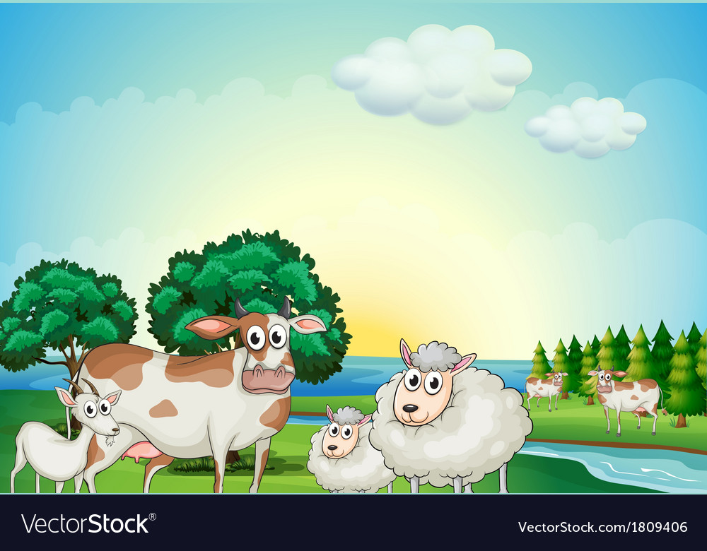 Sheeps cow and goat near the flowing river vector | Price: 1 Credit (USD $1)