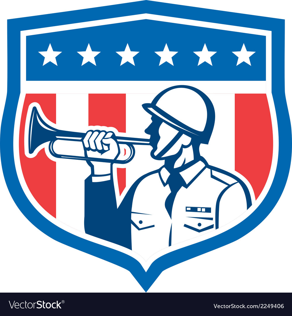 Soldier blowing bugle crest stars retro vector | Price: 1 Credit (USD $1)