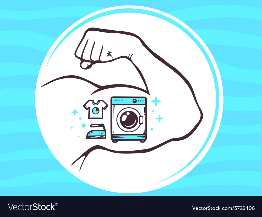 Strong man hand with icon of washing mac vector | Price: 1 Credit (USD $1)