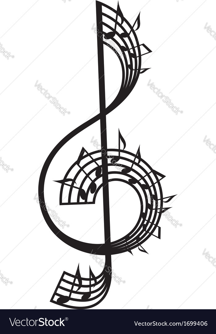 Treble clef and notes vector | Price: 1 Credit (USD $1)