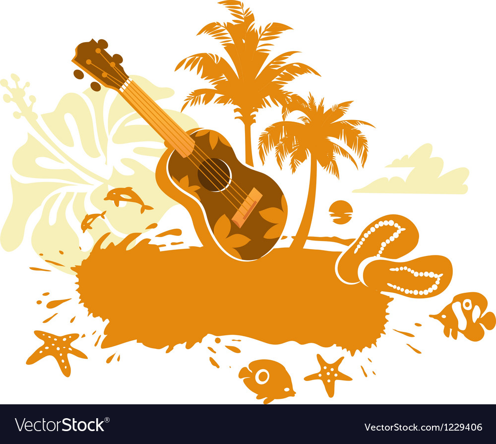 Tropical banner with a flower palm trees and ukule vector   Price: 1 Credit (USD $1)