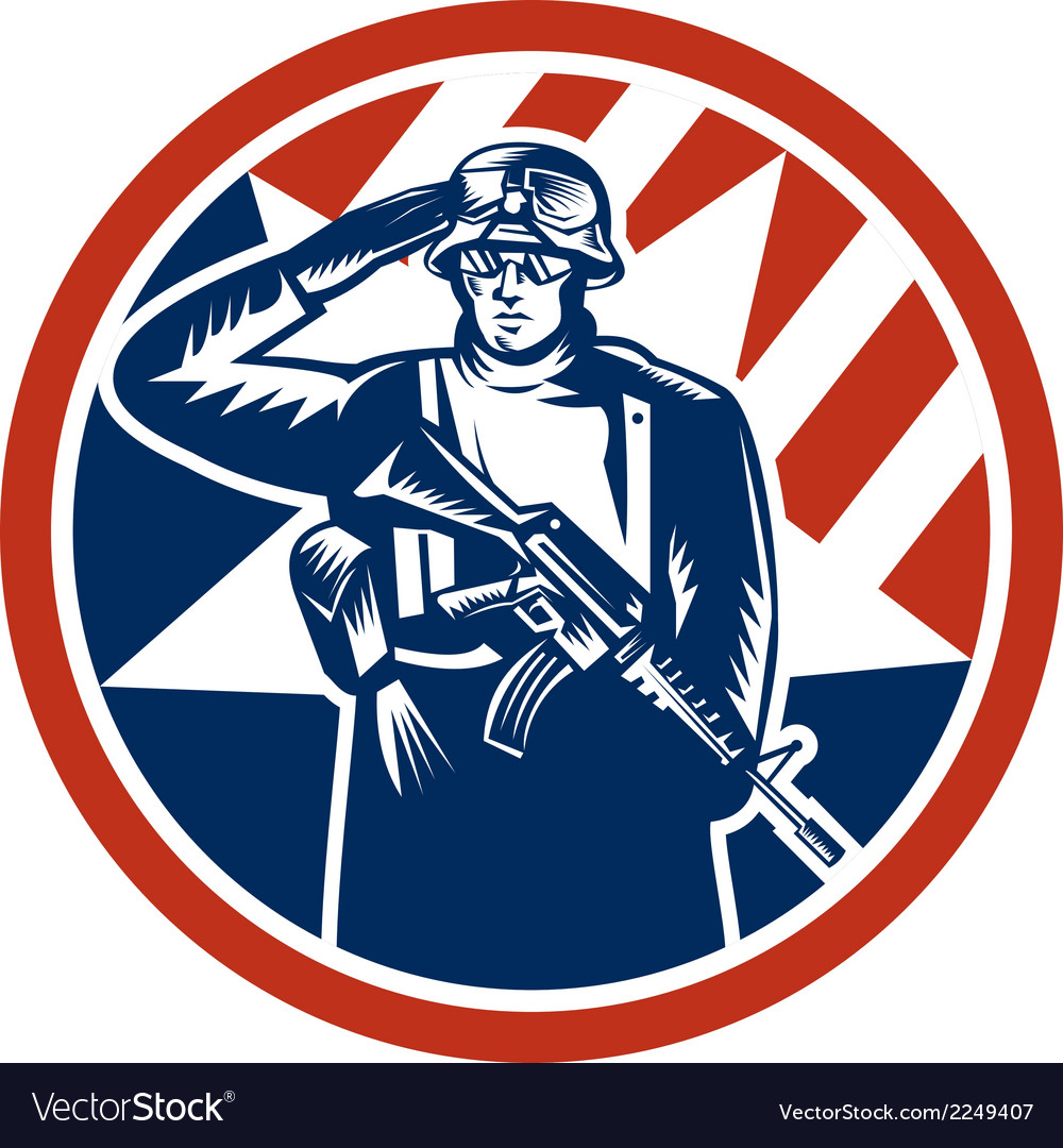 American soldier salute holding rifle retro vector | Price: 1 Credit (USD $1)
