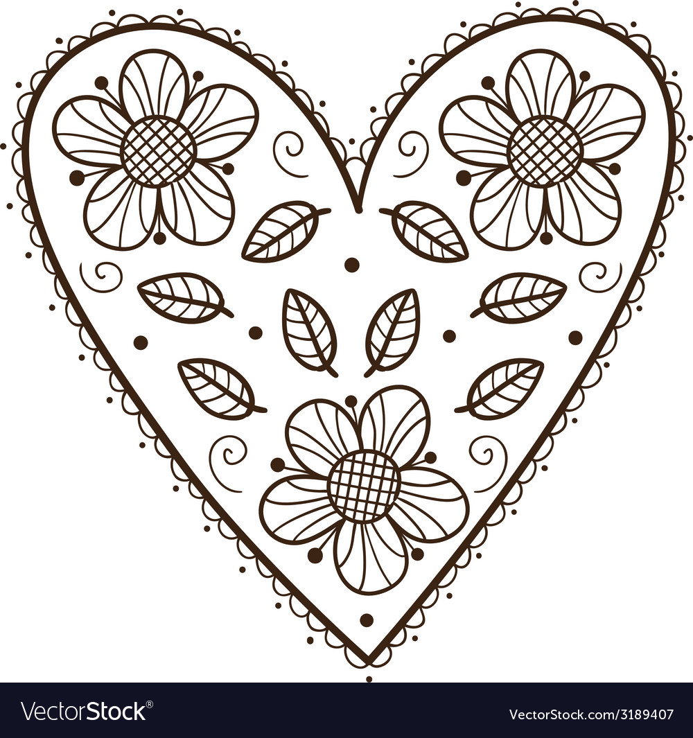 Heart with leaves and flowers vector | Price: 1 Credit (USD $1)
