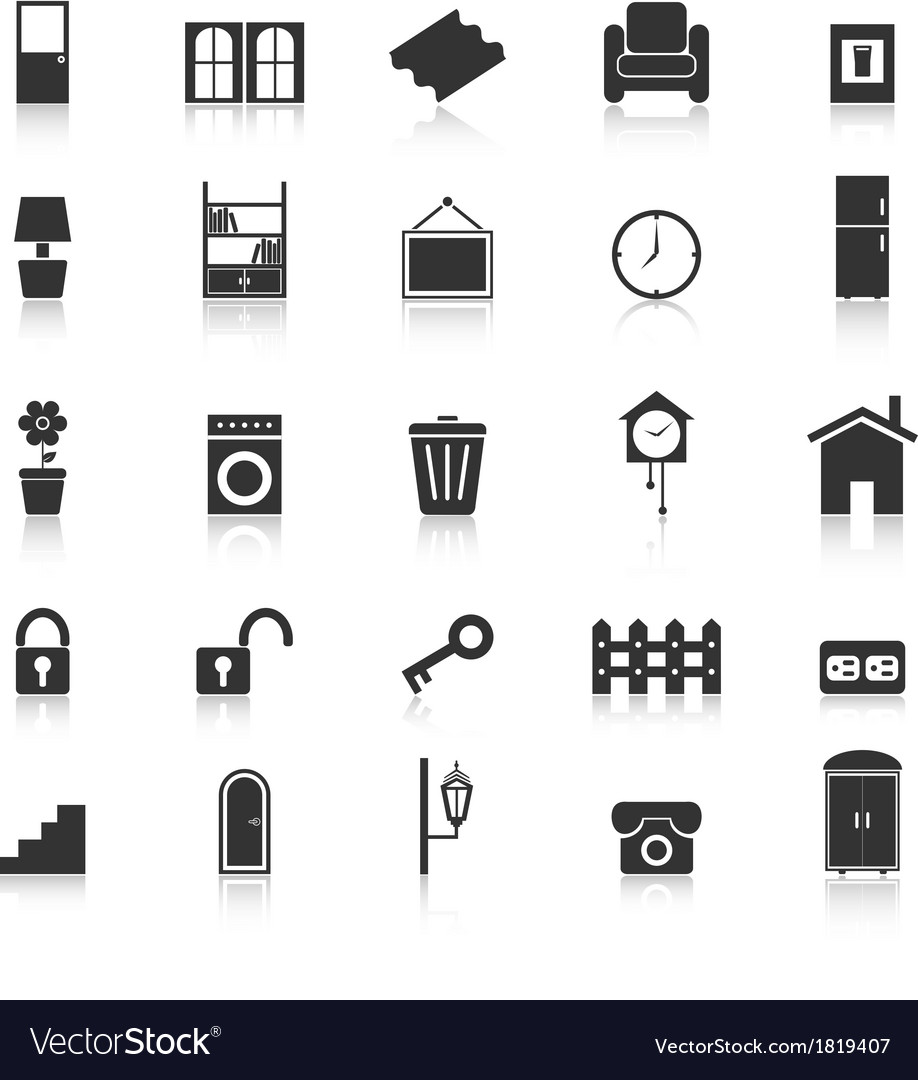 House related icons with reflect on white vector | Price: 1 Credit (USD $1)