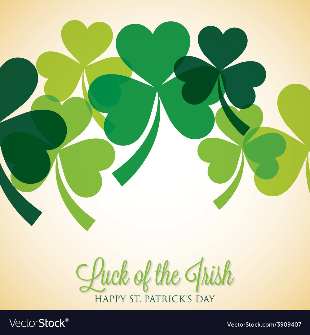 Overlapping shamrock st patricks day card in vector | Price: 1 Credit (USD $1)