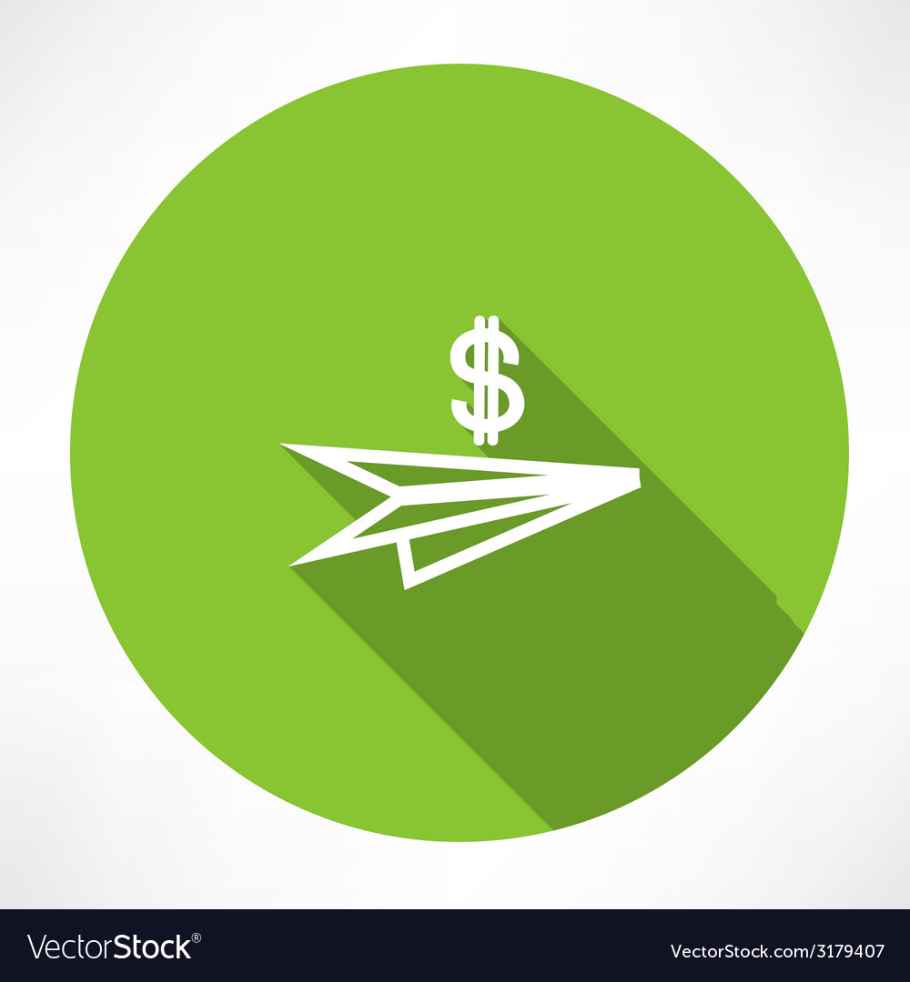 Paper plane with dollar icon vector | Price: 1 Credit (USD $1)