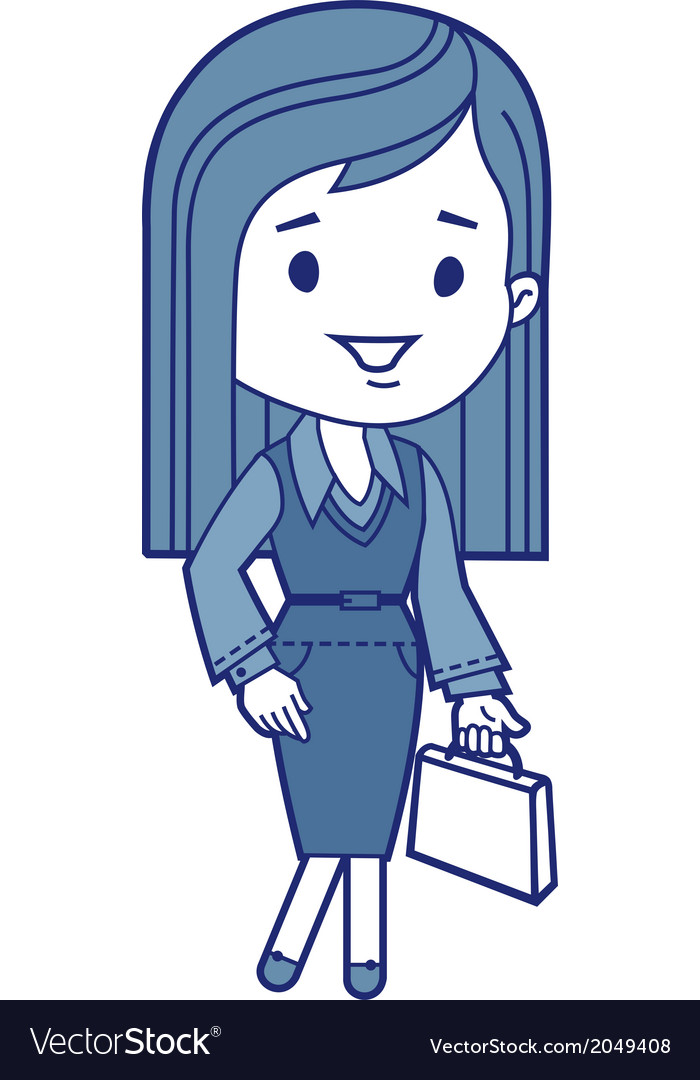 Character businesswoman with briefcase vector | Price: 1 Credit (USD $1)
