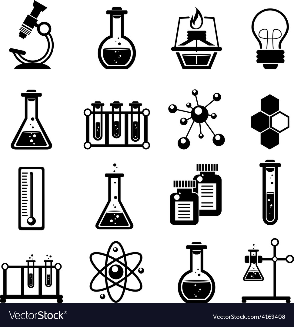 Chemistry icons set black vector | Price: 1 Credit (USD $1)