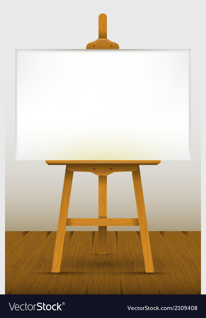 Easel with a blank canvas on a wooden floor vector | Price: 1 Credit (USD $1)