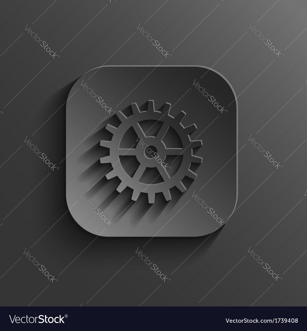 Gear icon - black app button vector | Price: 1 Credit (USD $1)