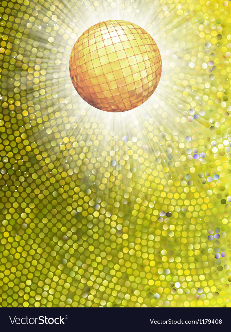 Gold disco ball on burst with mosaic detail eps 8 vector | Price: 1 Credit (USD $1)