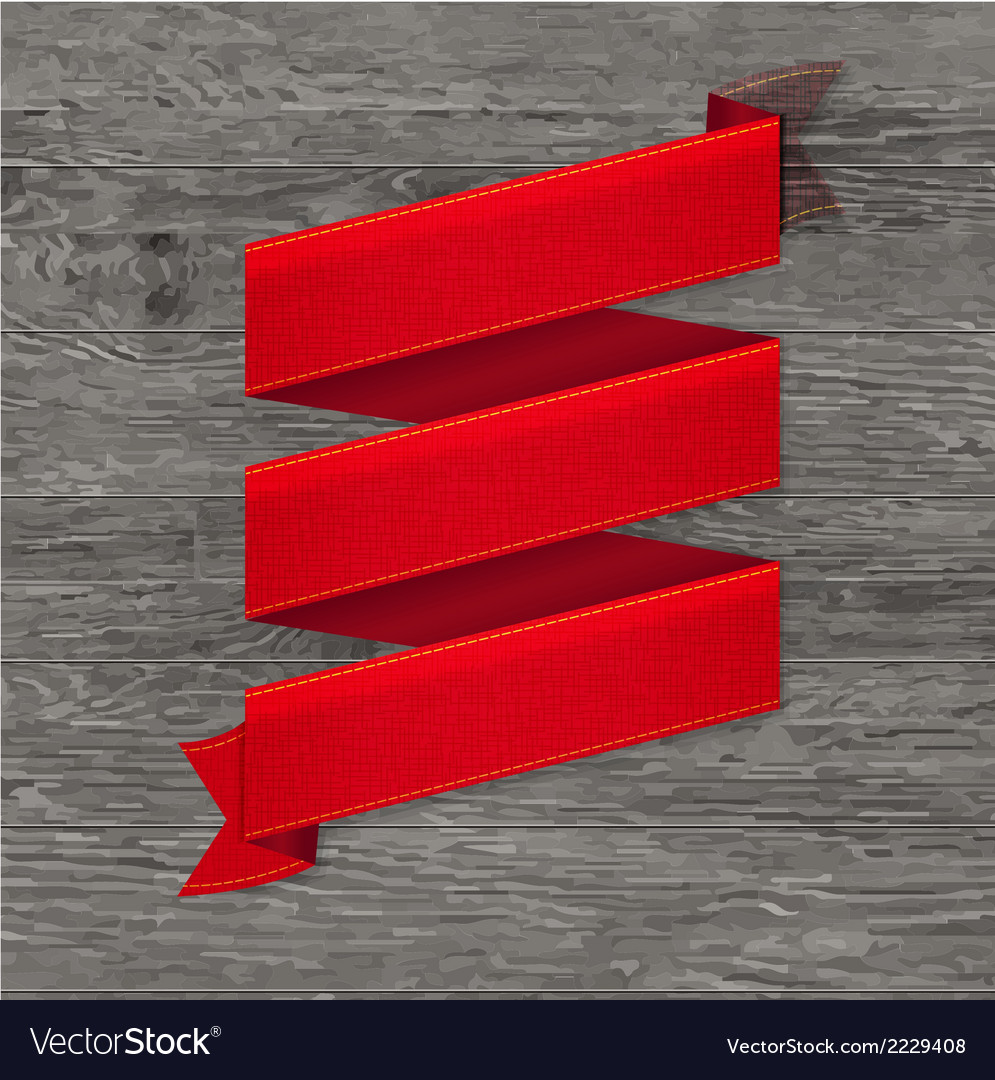 Grey wood board with red ribbon vector | Price: 1 Credit (USD $1)