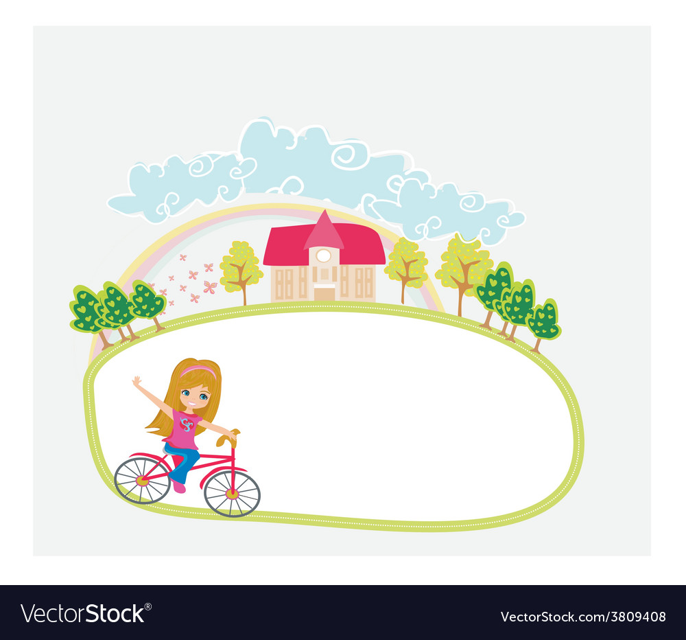 Happy driving bike with cute smiling young girl - vector | Price: 1 Credit (USD $1)