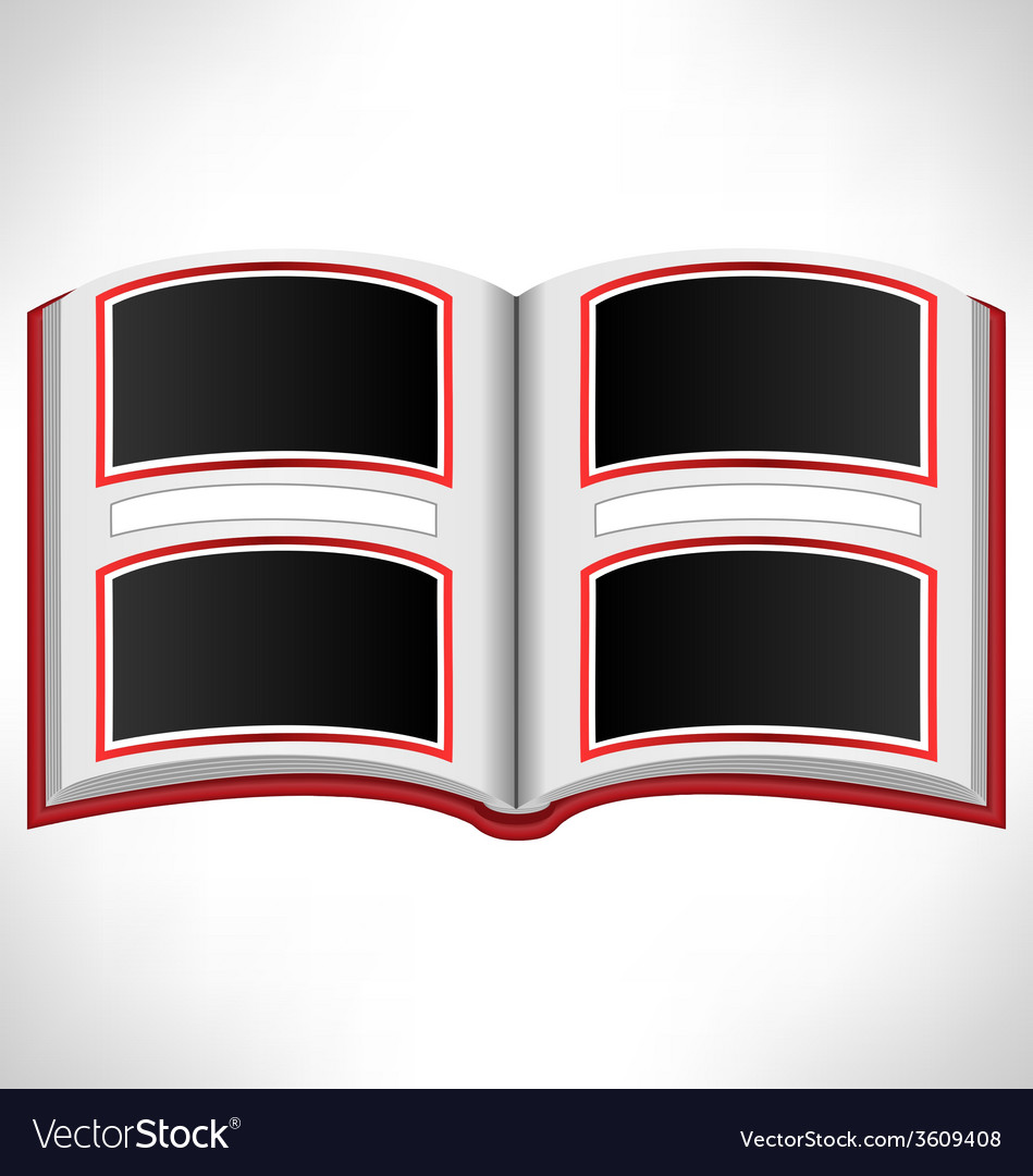 Open red book on grayscale vector | Price: 1 Credit (USD $1)
