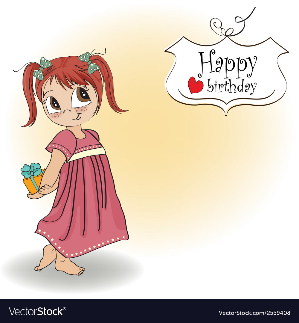Pretty young girl she hide a gift vector   Price: 1 Credit (USD $1)