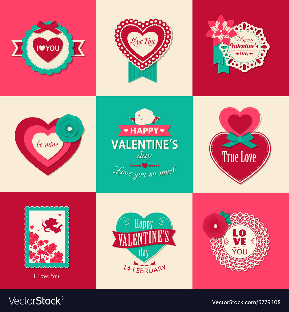 Set of valentines day typographical backgrounds vector | Price: 1 Credit (USD $1)