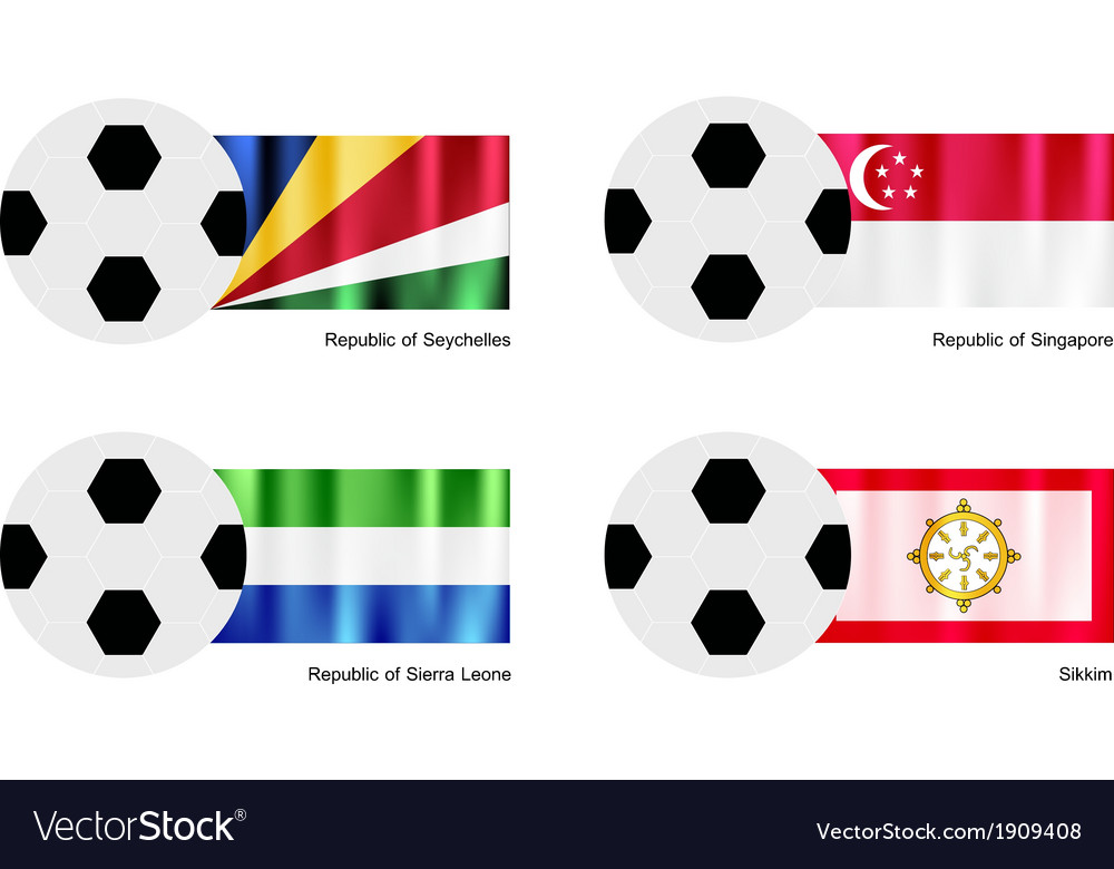 Soccer ball with seychelles singapore flag vector | Price: 1 Credit (USD $1)