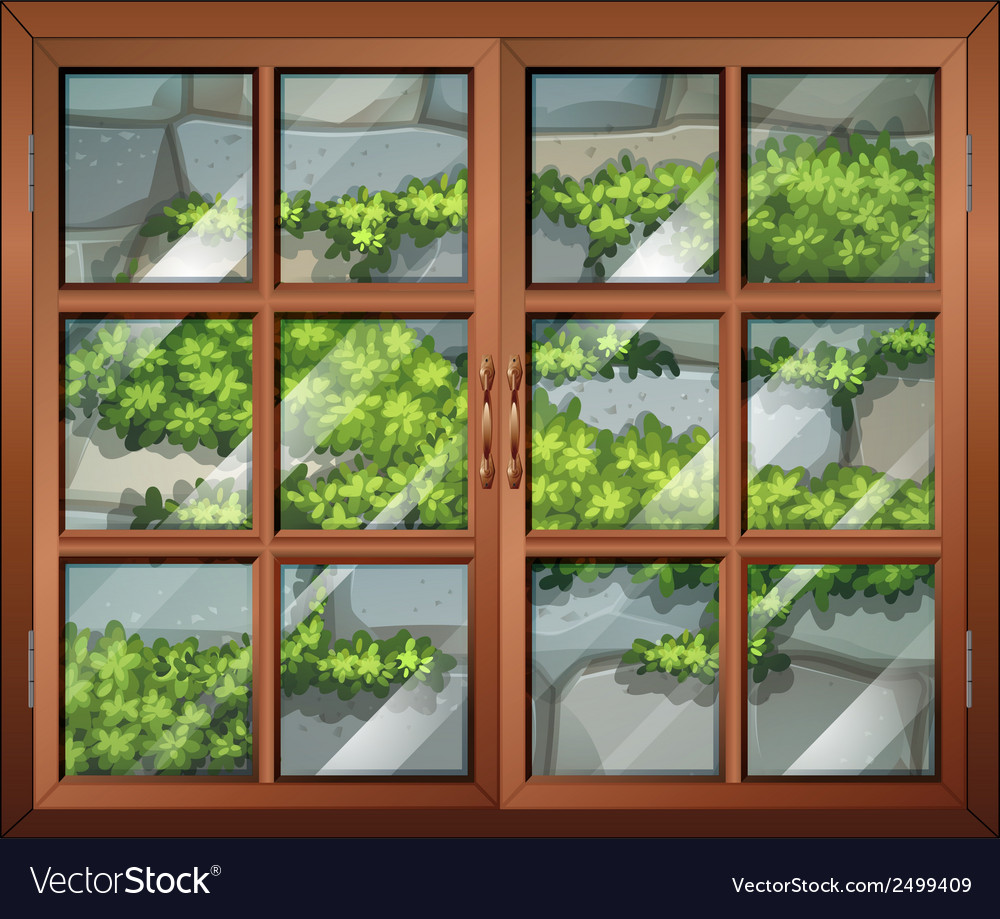 A closed window with a view of the plants and the vector | Price: 1 Credit (USD $1)