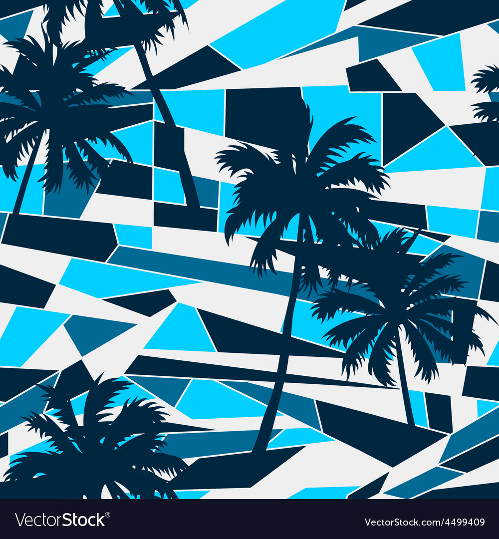 Abstract surf pattern with palm trees seamless vector | Price: 1 Credit (USD $1)