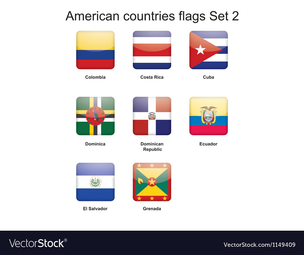 American countries flags set 2 vector | Price: 1 Credit (USD $1)