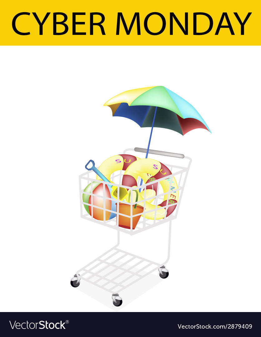 Beach items in cyber monday shopping cart vector | Price: 1 Credit (USD $1)