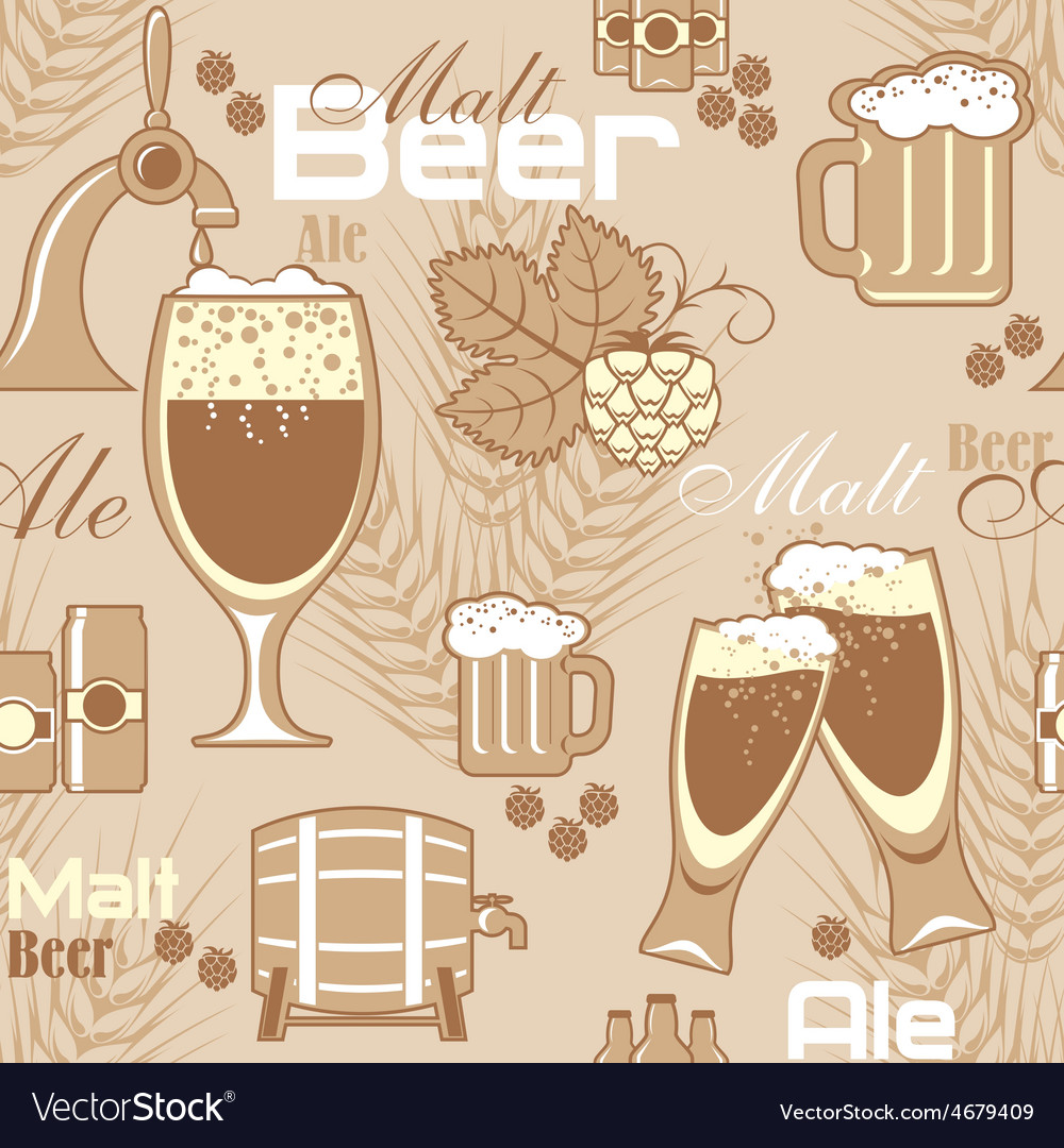 Beer seamless background vector | Price: 1 Credit (USD $1)