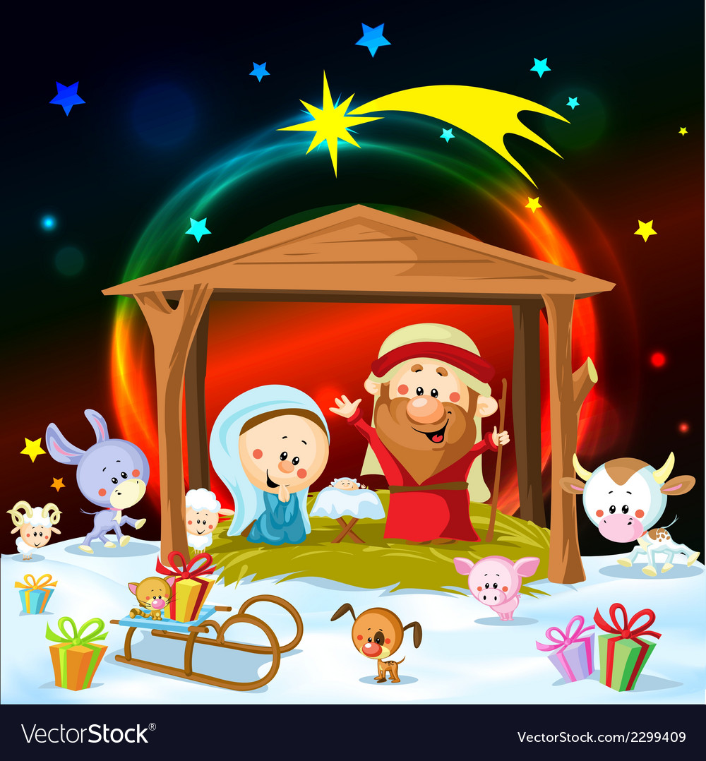 Christmas nativity with lights and cute animals vector | Price: 1 Credit (USD $1)