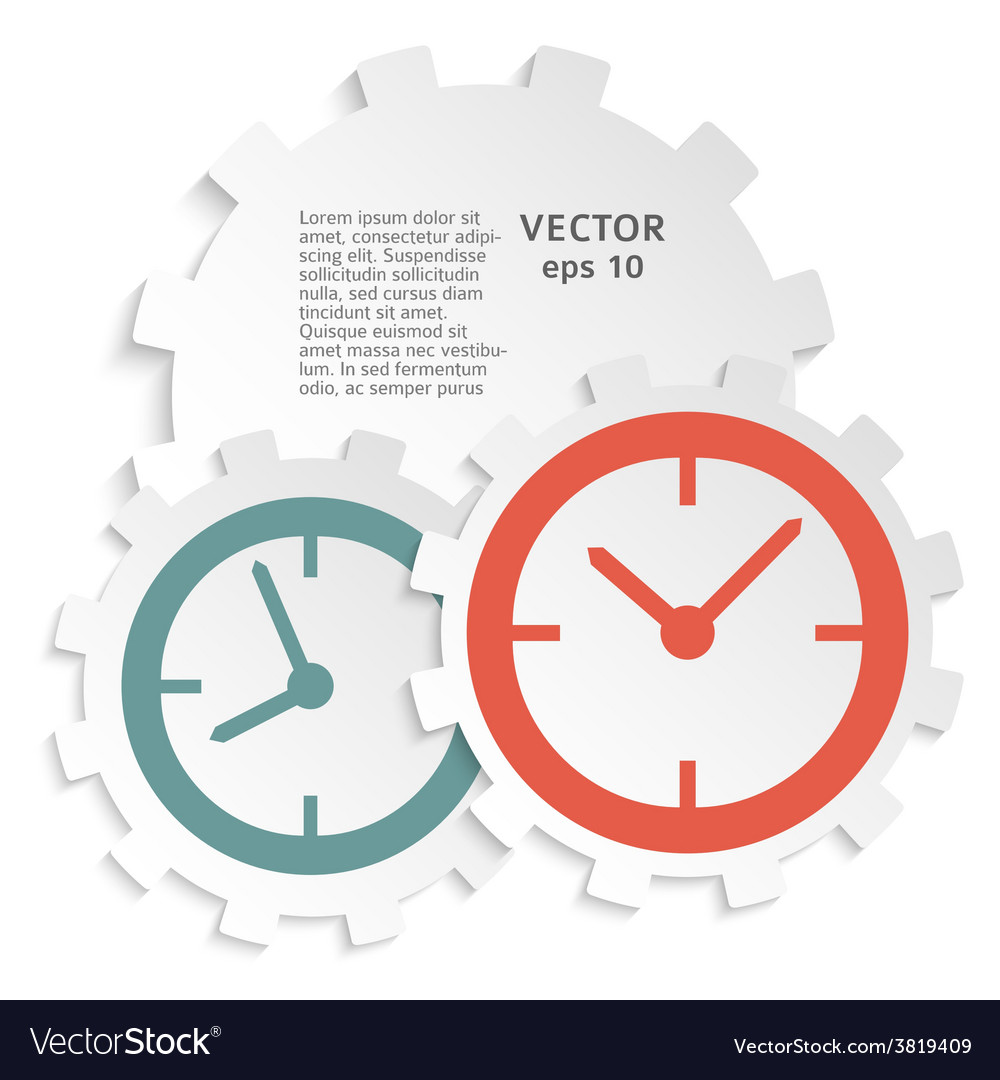 Concept of time clock icon on paper cutaway gear vector | Price: 1 Credit (USD $1)