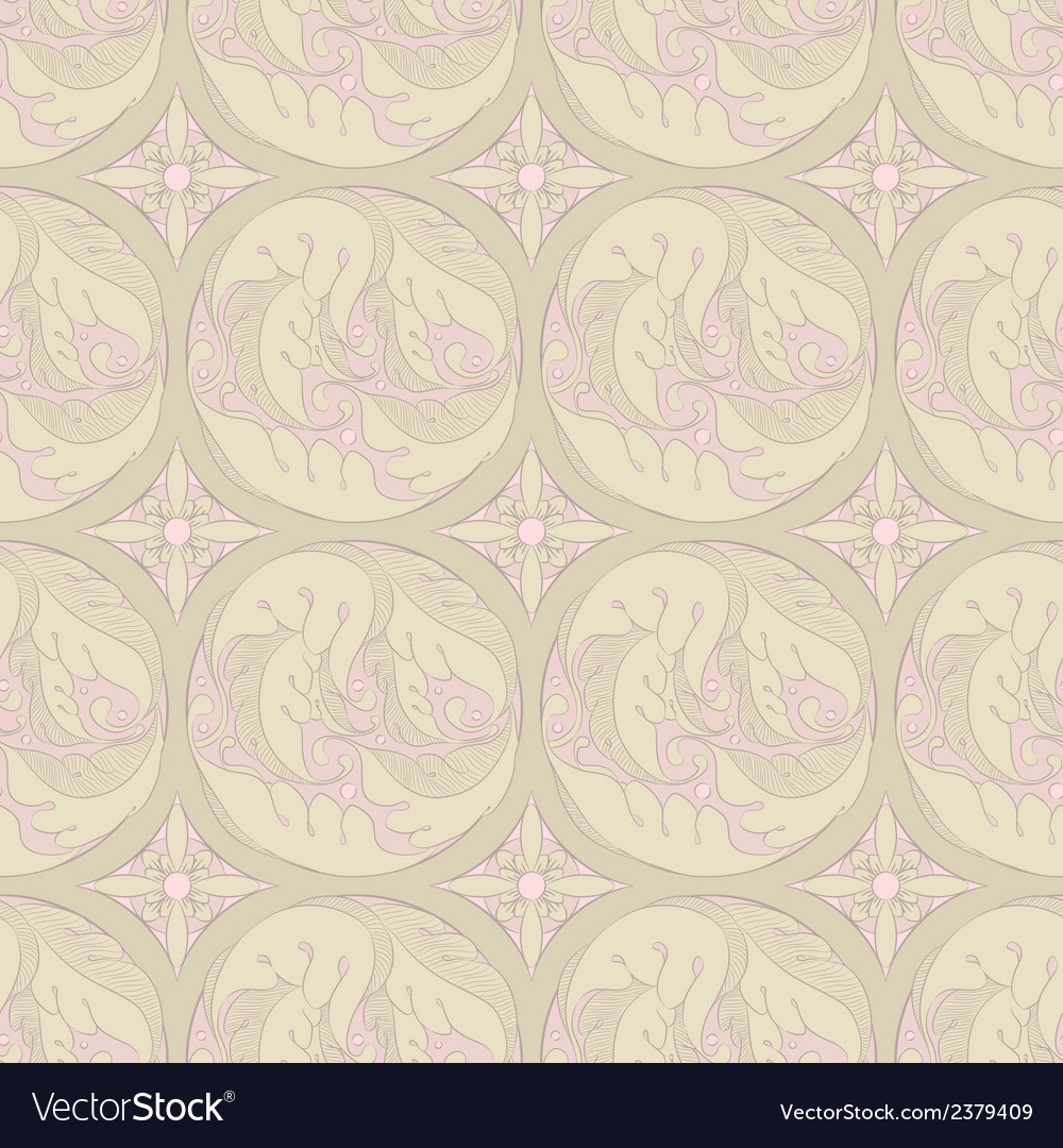 Floral retro pattern vector | Price: 1 Credit (USD $1)