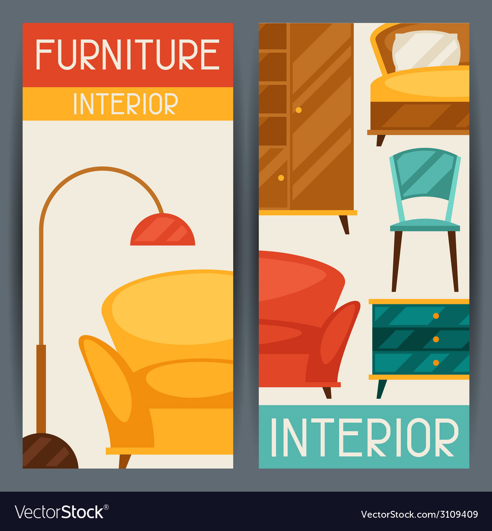 Interior vertical banners with furniture in retro vector | Price: 1 Credit (USD $1)