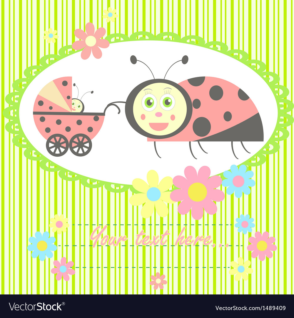 Ladybird mom and baby card vector | Price: 1 Credit (USD $1)