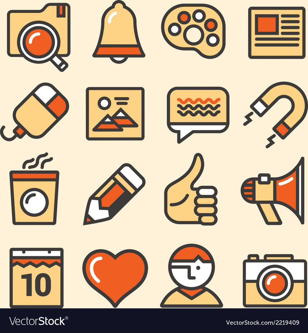 Outlined media icons set vector | Price: 1 Credit (USD $1)