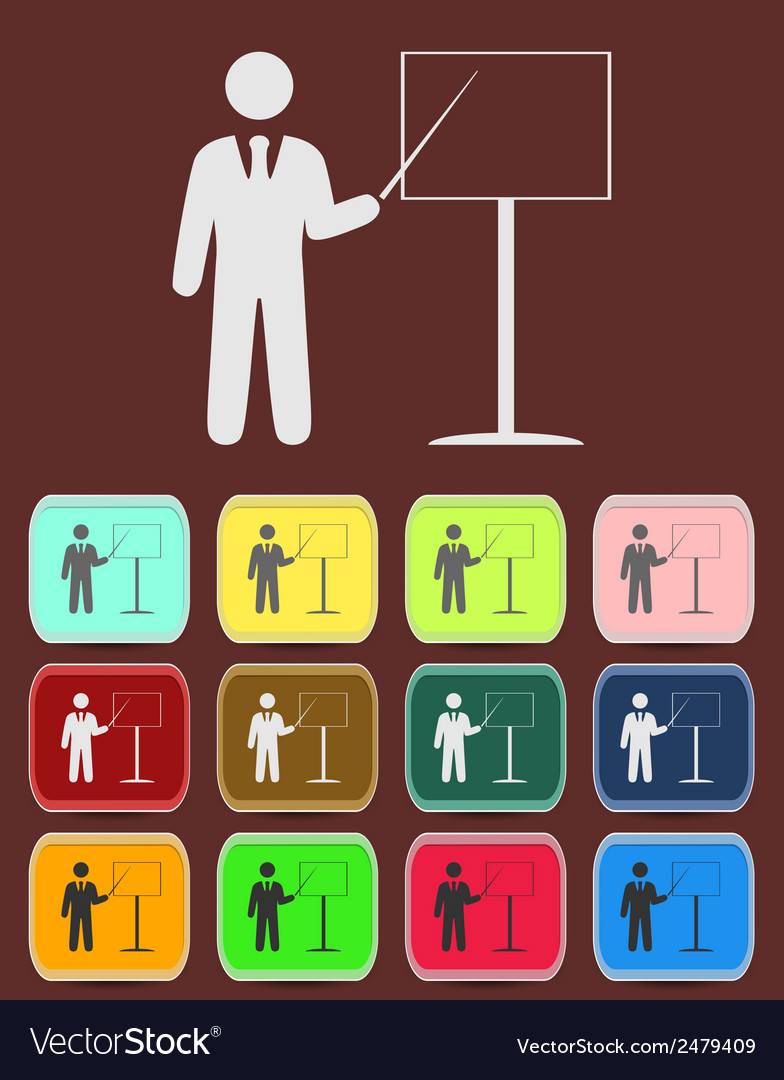 People - man person with a pointer and board vector | Price: 1 Credit (USD $1)