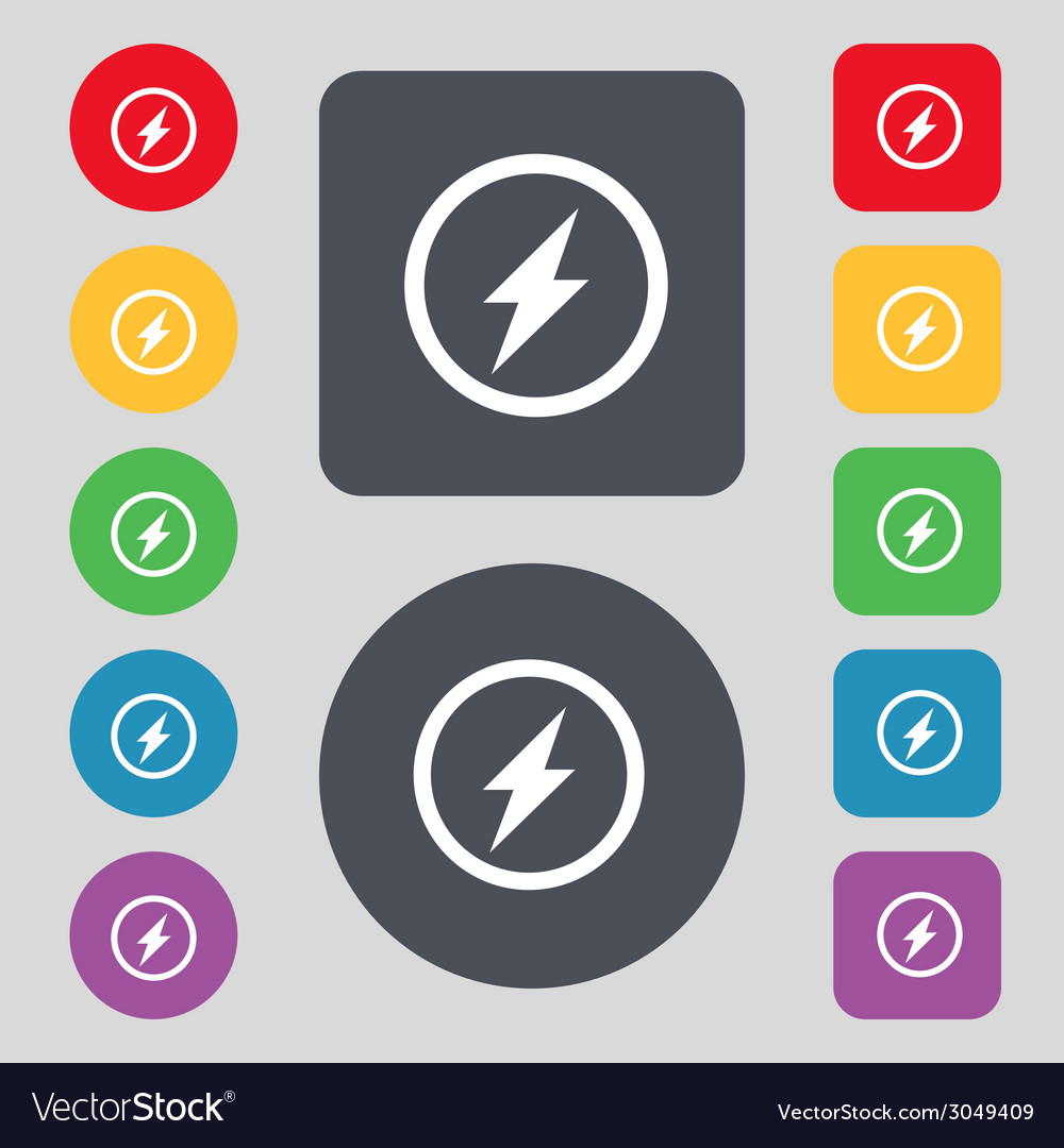 Photo flash sign icon lightning symbol set of vector | Price: 1 Credit (USD $1)