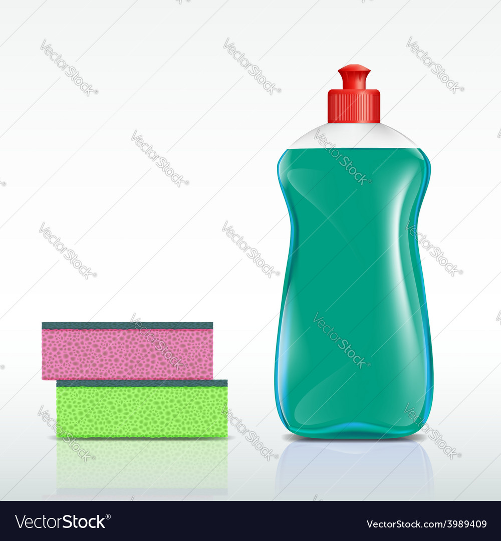 Plastic bottle with detergent and sponge vector | Price: 1 Credit (USD $1)