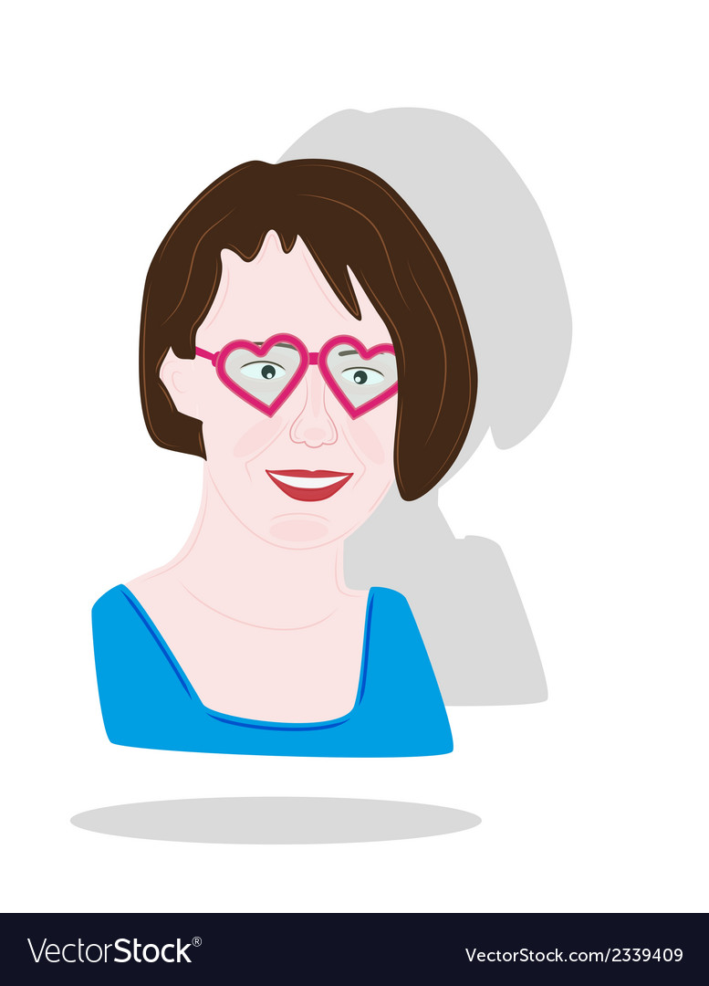 Pretty girl with heart glasses vector | Price: 1 Credit (USD $1)