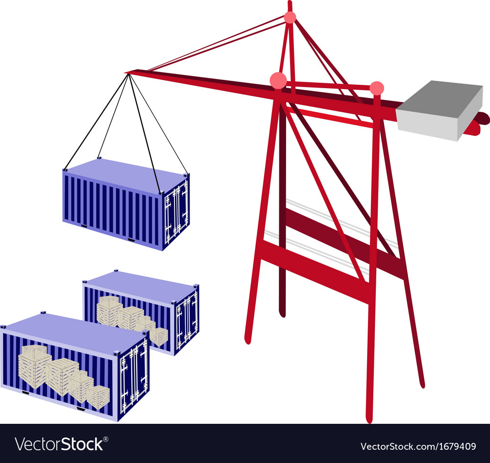 Shipping container being hoisted by a crane vector | Price: 1 Credit (USD $1)
