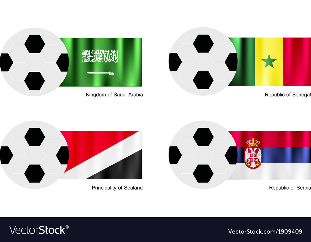 Soccer ball of saudi arabia senegal sealand vector | Price: 1 Credit (USD $1)