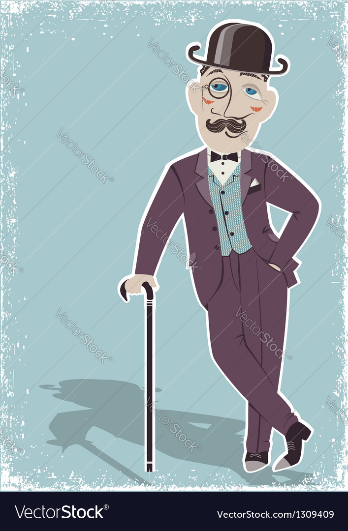 Vintage gentleman in black bowler hat vector | Price: 1 Credit (USD $1)