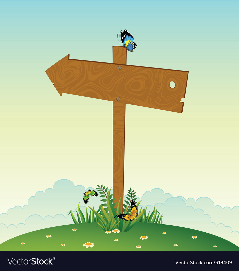 Wooden signpost vector | Price: 1 Credit (USD $1)