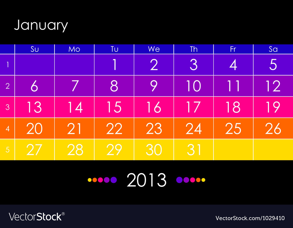 2013 january vector | Price: 1 Credit (USD $1)