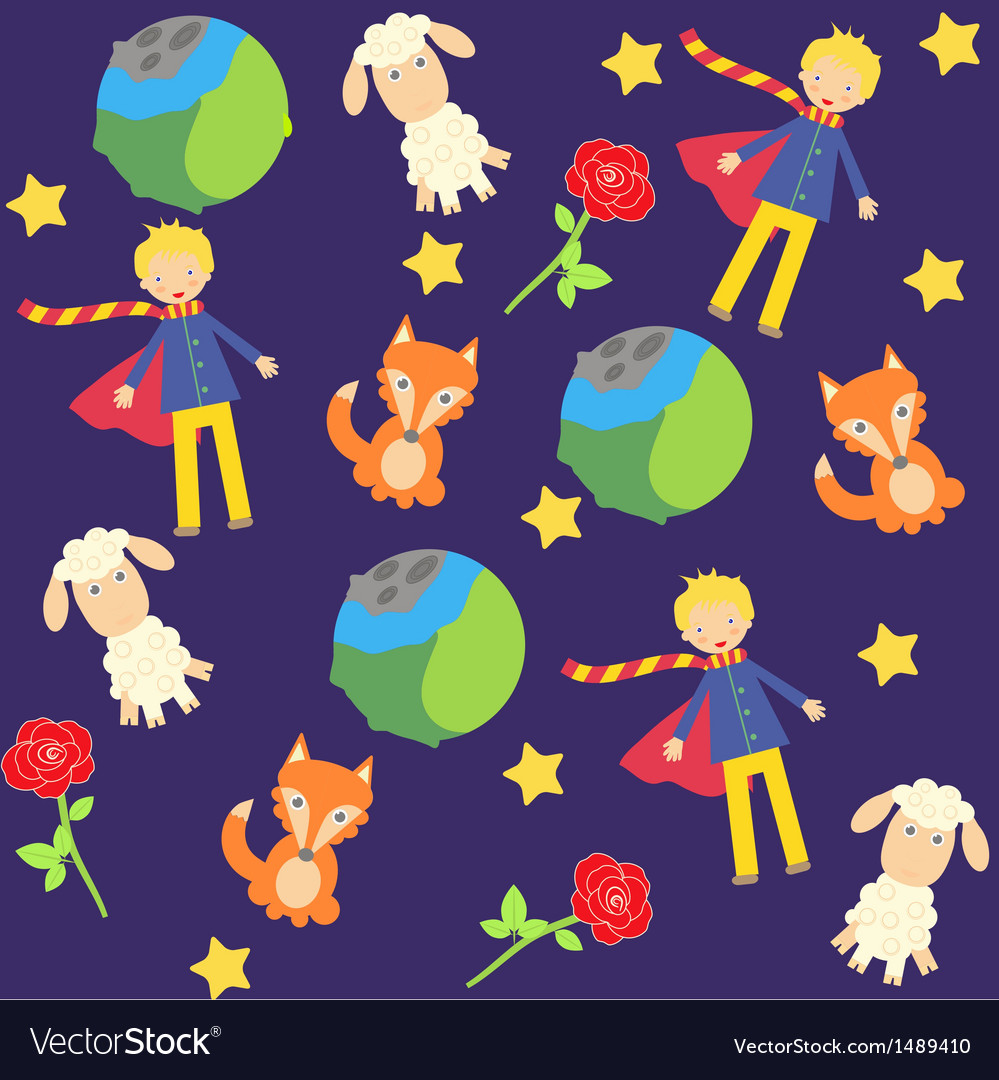 Background with the little prince characters vector | Price: 1 Credit (USD $1)