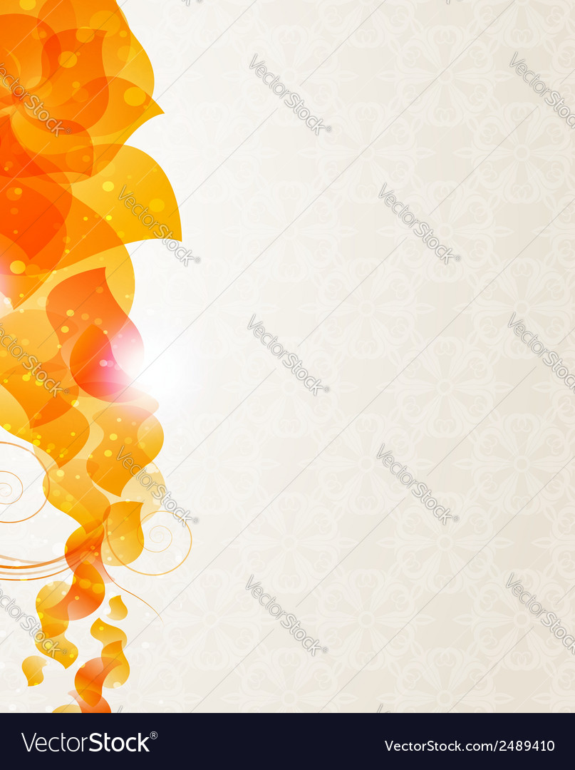 Beige background with orange petals pattern vector | Price: 1 Credit (USD $1)