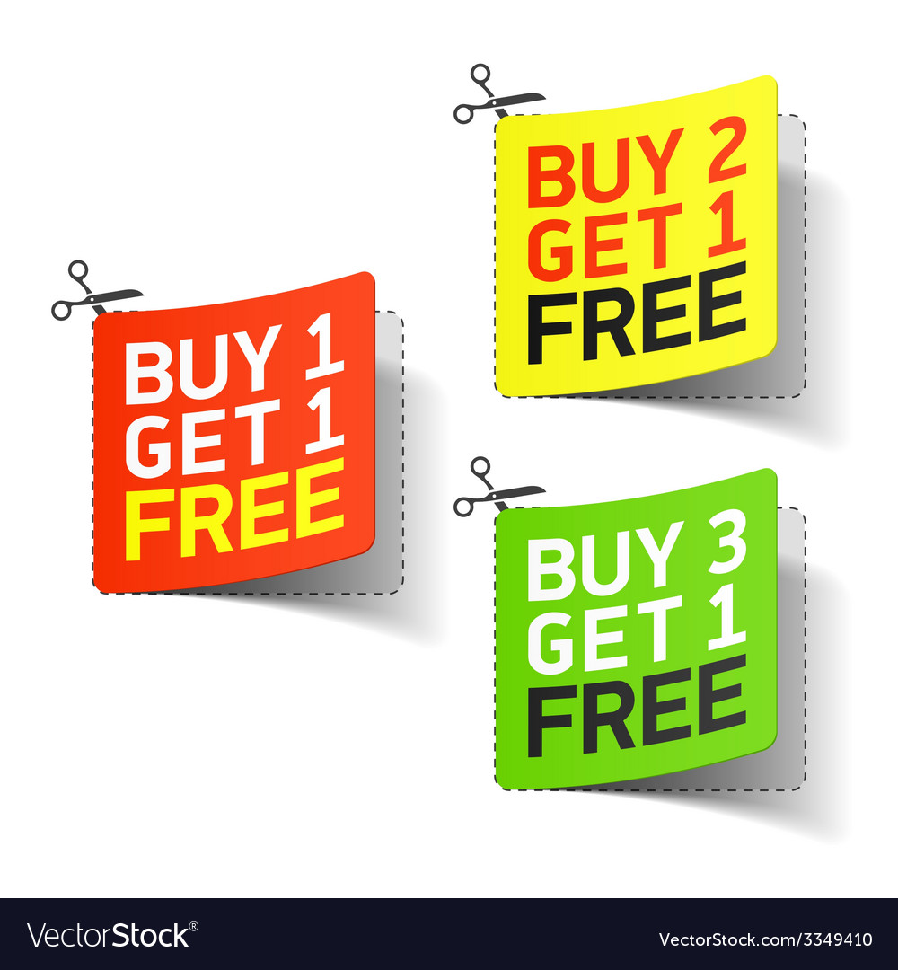 Buy 1 get 1 free promotional coupon vector | Price: 1 Credit (USD $1)