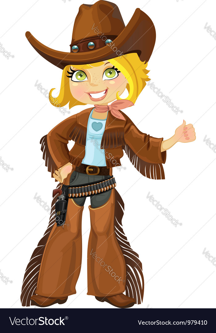 Cowgirl with colt vector | Price: 3 Credit (USD $3)