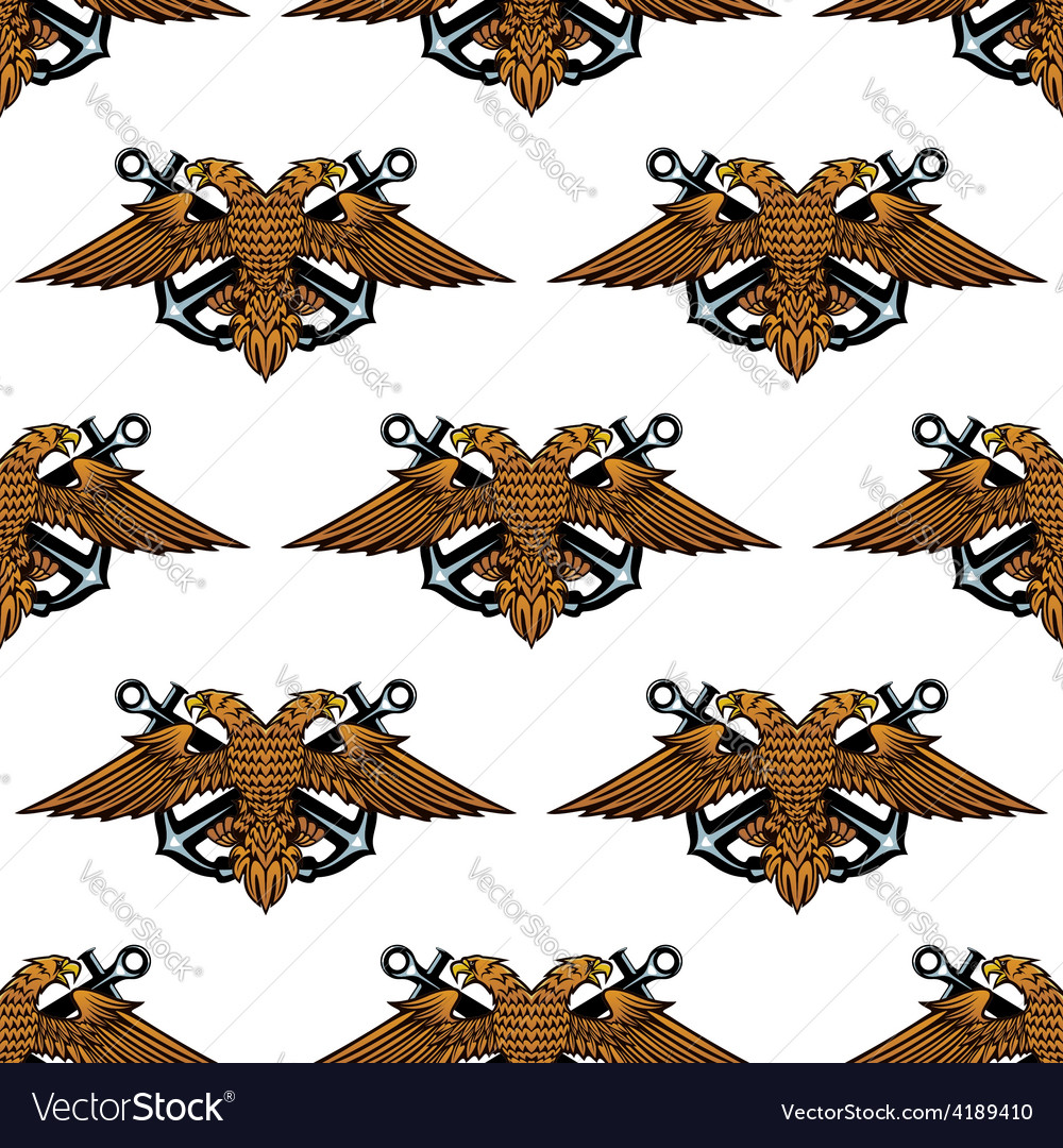 Eagle with crossed anchors seamless pattern vector | Price: 1 Credit (USD $1)