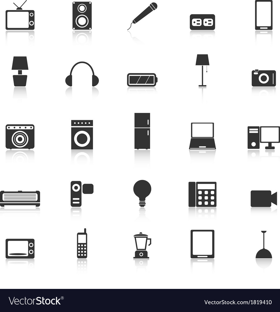 Electrical machine icons with reflect on white vector | Price: 1 Credit (USD $1)