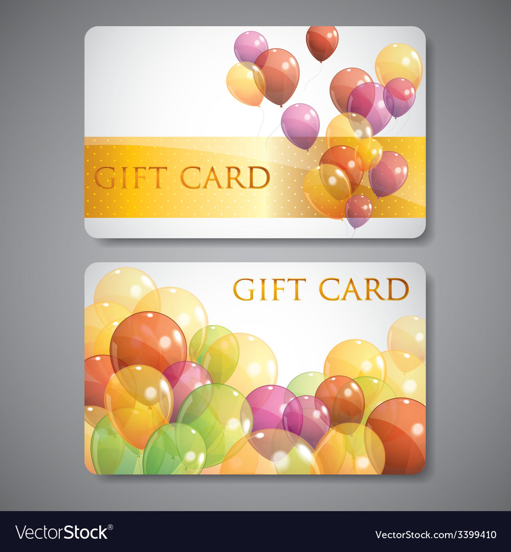 Gift cards with multicolored balloons vector | Price: 1 Credit (USD $1)