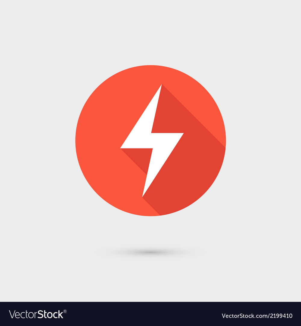 Lightning icon red circle on gray background vector | Price: 1 Credit (USD $1)