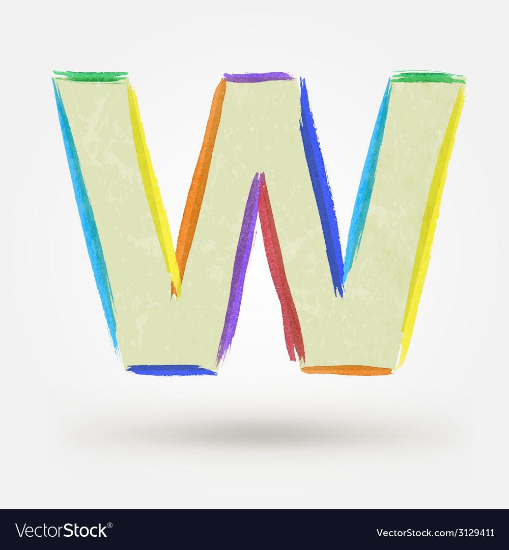 Alphabet letter w watercolor paint design element vector | Price: 1 Credit (USD $1)